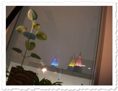Viva hat abends einen herrlichen Blick auf die beleuchteten Türme der Kunst- und Ausstellungshalle Bonns. :-)